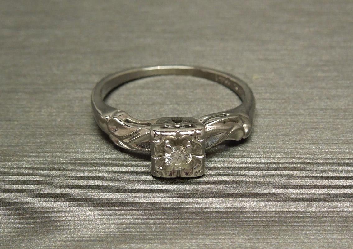 Vintage Square Diamond Engagement Ring 14k W Gold Signed C1960