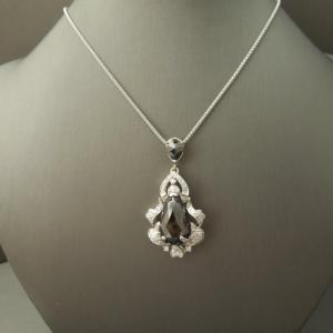 """Eternal Midnight"" Art Deco 31ct Natural Black Diamond Pendant"