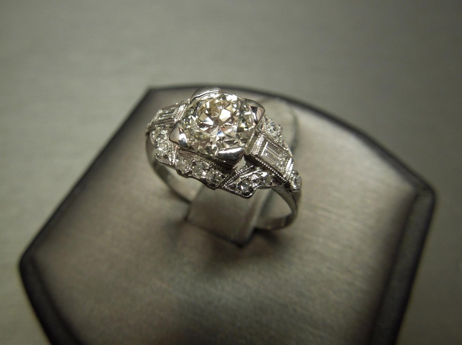 Antique Old European Cut Diamond Engagement Ring 1 21tcw Plat