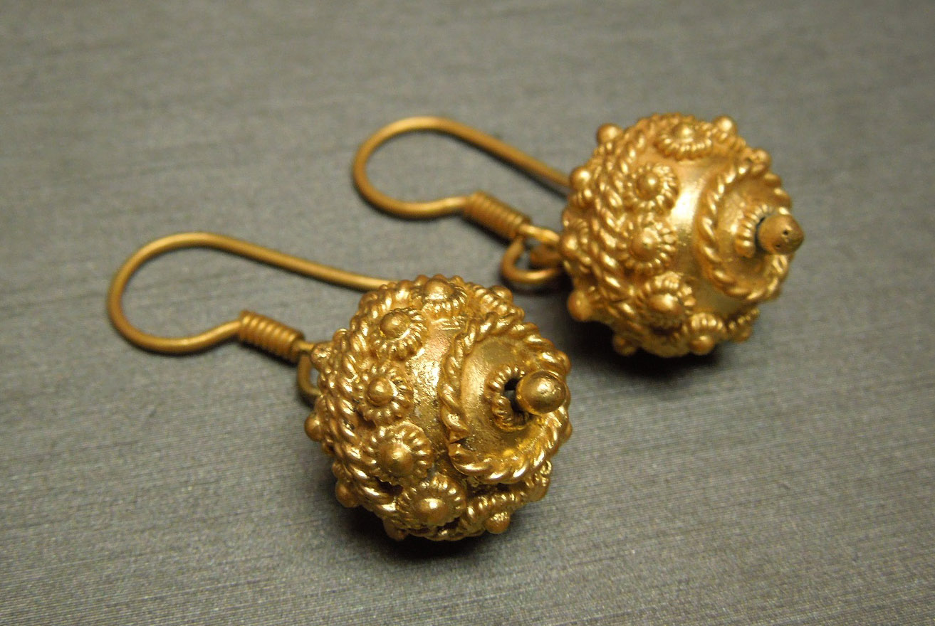 Antique Etruscan Gold Earrings 800 Coin Silver C1900