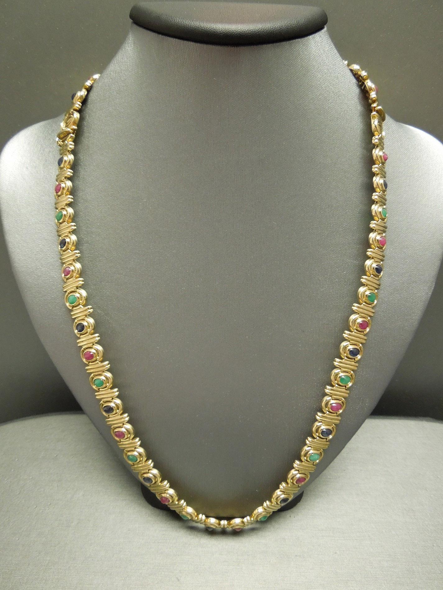 Egyptian Gold 19tcw Precious Gemstone Necklace Amp Bracelet Set