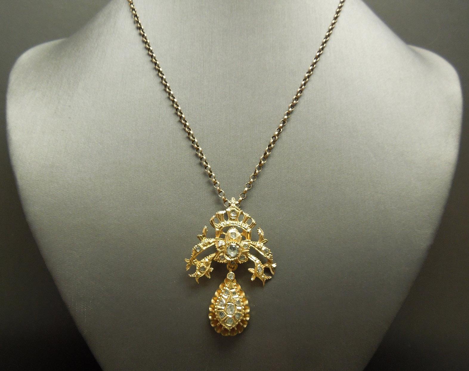 24k 2 50tcw Rose Cut Diamond Antique Russian Jewelry Set C1900