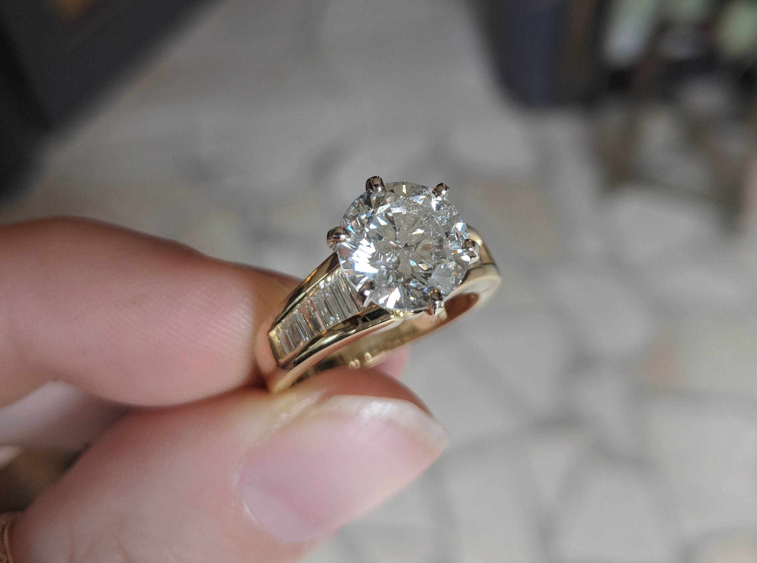 18k 3 Carat Diamond Solitaire Amp Channel Baguette